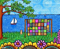 Patchwork Quilt Folkart Print with Cat by AliceinParis on Etsy, $20.00 ~ love these colors! Artist  Shelagh Duffett