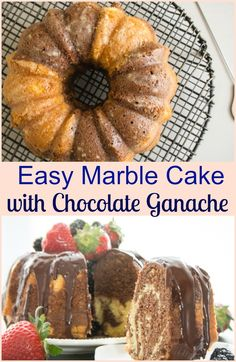 Easy Marble Cake, a delicious cake recipe made quick and easy with a food processor! Serve it with a creamy Chocolate Ganache. Delicious Cake Recipes, Best Dessert Recipes, Sweet Desserts, Yummy Cakes, Dessert Ideas, Dinner Recipes, Yummy Food, Chocolate Dipped Fruit, Chocolate Ganache