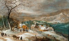 Joos de Momper the Younger (1564-Antwerp-1635) Winter landscape with village Figures are by Jan Brueghel the Younger