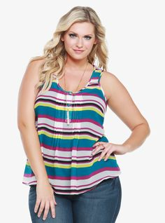 Sheer and stylish, our striped chiffon tank is detailed with flirty tuxedo-inspired pintucks, button accents and a back keyhole cutout. Fat Girl Fashion, Curvy Fashion, Plus Size Fashion For Women, Plus Size Women, Plus Size Blouses, Plus Size Tops, Swagg, Torrid, Plus Size Outfits