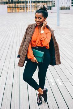 Work Fashion, Fashion Looks, Fashion Outfits, Black Women Fashion, Womens Fashion, Orange Blouse, Girls Wardrobe, Blouse Outfit, Professional Outfits