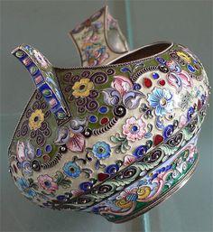 Russian Silver Enamel Kovsh by 11th Artel Moscow 1908-1917
