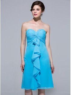 Wedding Party Dresses - $114.99 - Empire Sweetheart Knee-Length Chiffon Bridesmaid Dress With Cascading Ruffles  http://www.dressfirst.com/Empire-Sweetheart-Knee-Length-Chiffon-Bridesmaid-Dress-With-Cascading-Ruffles-007037225-g37225