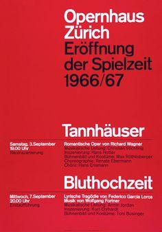 Opernhaus Zürich Eröffnung der Spielzeit Poster — Josef Müller-Brockmann