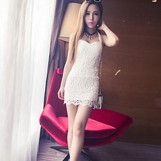 Women's Strap Lace Mini Dress , Lace White/Black Bodycon – USD $ 14.99