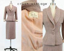 40s Suit Lilli Ann XS / 1940s Vintage Suit Peplum Jacket / Working Girl Suit