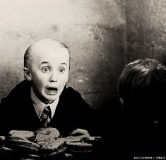 "#Draco Malfoy #scared ""trollll in the dungeon!"" (for those who dont know why Draco is totally freaked in this scene)"