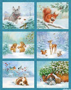"Snow Pals - Baby Animals in Winter - 24"" x 44"" PANEL"