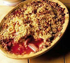 Rhubarb & strawberry crumble with custard
