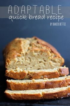 """Basic Quick Bread Recipe (sweet or savory)- basic """"formula"""" made of 5 ingredients with vegan options"""