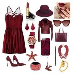 """""""Theme #2 - madly maroon"""" by somaiyarouyan on Polyvore featuring American Eagle Outfitters, Gucci, Christys', Casadei, Kendra Scott, Bertha, Silvian Heach, Valentino, Giorgio Armani and BaubleBar"""