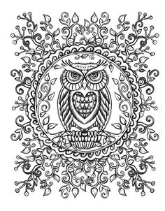 coloring for adults adult coloring coloring pages owl animal mandala coloring pets hobbys with mandalas - Animal Mandala Coloring Pages Owl