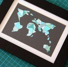 Un tableau carte du monde style origami - déco DIY