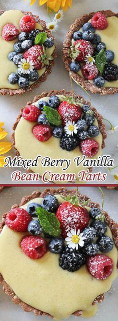 Mixed Berry Vanilla Bean Cream Tarts                              …