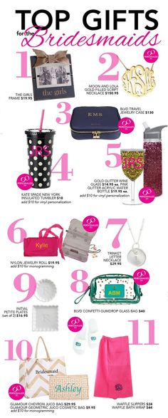 The best gifts for your bridesmaids - the most important ladies in your life!