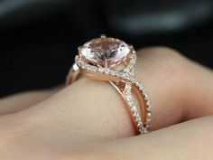 14kt Rose Gold Round Morganite Halo Twist Engagement Ring ~ Gorgeous!