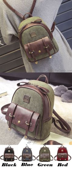 Retro Girl's Corduroy Splicing PU Color Blocking School Backpack Student Backpack for big sale! #backpack #Bag #retro #school #student #college