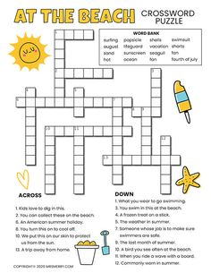 Beach Printable Crossword Puzzle For Kids | Mrs. Merry