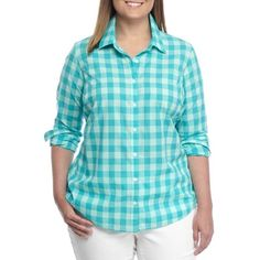 Crown  Ivy  Crown Turquoise Plus Size Festive Gingham Shirt - Women's ($65) ❤ liked on Polyvore featuring tops, crown turquoise, plus size shirts, women's plus size shirts, blue gingham shirt, plus size tops and sparkly tops