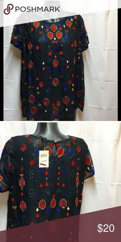 Lucky brand sheer top in black with embroidery Lucky Brand sheer top in black with embroidery in red and blue.  Short sleeves.  Size 1X.  Will need to wear something under this garment. Lucky Brand Tops Blouses