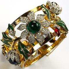 Corocraft 'Jewels of Fantasy' 'Carmen Miranda' Camellia Bangle Bracelet
