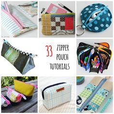 33 zipper pouch tutorials