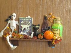 Dollhouse miniature Halloween Shelf.