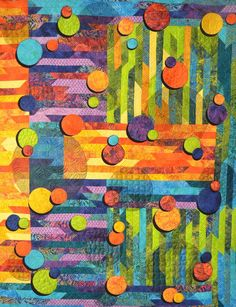 Blubblicious pattern by Claudia Pfeil Design. Size x 63 inch x If you like to get a quilt kit for this quilt, please ask for the possibilities. Scrappy Quilts, Baby Quilts, The Quilt Show, Quilt Modernen, Colorful Quilts, Fabric Wallpaper, Textile Art, Quilt Blocks, Fiber Art