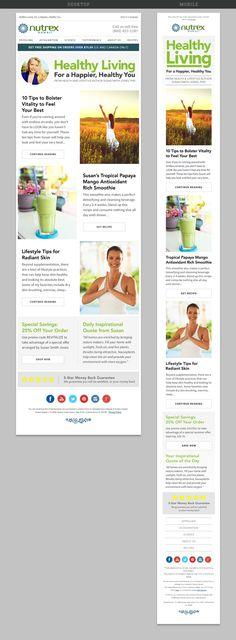 Healthy Living responsive email design for Nutrex Hawaii / Susan Smith Jones. #emaildesign #nutrex #giantjet #responsiveemail