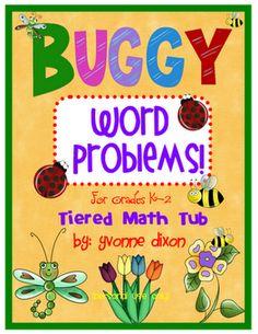 Buggy Word Problems Tiered/Leveled Math Tub! (K-2)  http://www.teacherspayteachers.com/Product/Buggy-Word-Problems-Tiered-Math-Tub