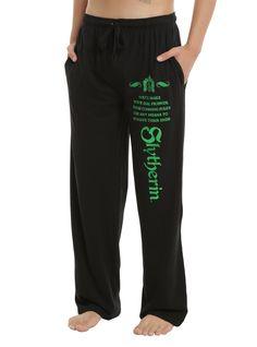 Harry Potter Slytherin Foil Guys Pajama Pants, BLACK