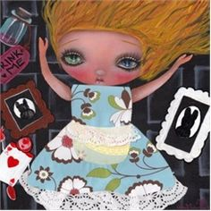 Down the Rabbit Hole by Abril Andrade Griffith Surreal Artwork Canvas Art Print. Abril Andrade Griffith studied at a fine art school in Lleida, Spain. Influenced by the Gothic Subculture and childrens illustrations, Abril created a fantasy world of surreal creatures with enormous eyes. Her preferred mediums are acrylics and oil base cremes. She was inspired by Salvador Dali, Joe Capobiano, Frida Kahlo, and Octavio Ocampo.