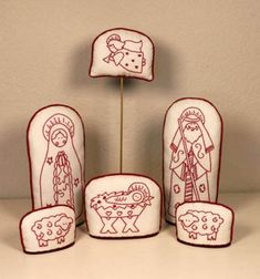 Alaska Redwork Nativity - 6 Piece Set Redwork Posy Collection, The Christmas Nativity Scene, Christmas Cross, Felt Christmas, Nativity Scenes, Christmas Bells, Folk Embroidery, Christmas Embroidery, Modern Embroidery, Nativity Crafts