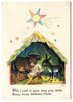 Jan Marcin Szancer Date 1965 - 1975 History Images, Art History, Polish Christmas, Christmas Manger, Vintage Christmas Cards, Children's Book Illustration, Christmas And New Year, Folklore, Childrens Books