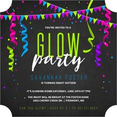 Glowing Neon Party Streamers Birthday Invitation from Invite Shop. Perfect for a Glow In The Dark Party!! #TeenBirthdayInvitations #Sweet16Invitations #GlowInTheDark