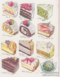 pencil drawn cake slices