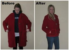 Adventures of Lauren: Book Review: Day The red wool coat, refashion 13