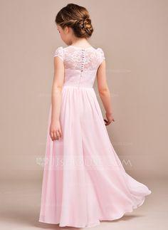 aaa28a6ad0e90 A-Line Princess Scoop Neck Floor-Length Chiffon Lace Junior Bridesmaid Dress  (