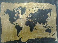 Xilogravura Mapa Mundi