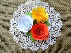 Handmade 5 Inch Paper Rose Doily Placecard by LeCardShoppe on Etsy,