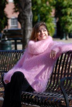 Cowl Neck Fuzzy Mohair Sweater