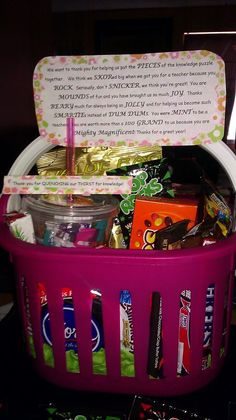 Teacher appreciation day-  Snack bucket with poem and ABC 123 Tumbler filled with drink mixes (thanks for quenching our thirst for knowledge)