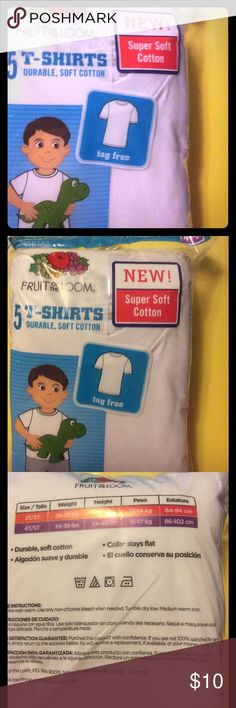 Brand New 4-5t Toddler T shirts 5in pack Dear Readers, This is a brand new in plastic package of Fruit of the Loom brand white toddler t-shirts. They are tag free durable and soft 100% cotton. 4t-5t weight 34-38lbs height 34-40inches. Great gift or for your own bundle of joy. Fruit of the Loom Shirts & Tops Tees - Short Sleeve