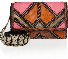 Statement #clutch with #JimmyChoo - Check out the Jimmy Choo Cailin patchwork clutch on bagservant.co.uk