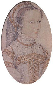 "Sketch of the adolescent - Mary Queen of Scots ""most perfect "" queen - Sketch by Clouet  - Born 1546, Imprisoned 1568, Executed 1587 - In 1603, upon Queen Elizabeth I death, Mary's son became King of England - King James I"