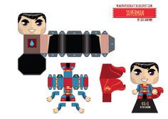 Blog_Paper_Toy_papertoys_Superman_Costumes_template3_preview Diy Origami, Origami Paper, Diy Paper, Paper Puppets, Paper Toys, Superman, Man Of Steel, Steel Dc, Eid Cards
