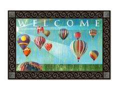 Hot Air Balloon MatMate.  Die-sublimated mat. Non-slip recycled rubber backing. Weatherproof for outdoor use. Rubber Tray is sold separately MAIL10050 (Star) or MAIL10200 (Scroll). #hotairballoons #doormat #mat #mats #welcome
