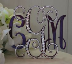 Monogram 3Initial Vine Wedding Cake Topper with by InitialMoments, $65.00
