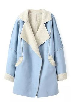 ROMWE | Open Front Blue Coat