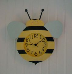 Items similar to Jolly Bee Wall Clock. on Etsy Cartoon Bee, Buzz Bee, Toddler Learning Activities, Diy Clock, Kids Birthday Cards, Class Decoration, Bee Theme, Bee Happy, Bees Knees